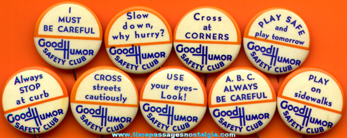 (9) Different Old Good Humor Ice Cream Safety Club Celluloid Pin Back Buttons