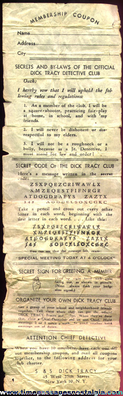 (2) 1930's Dick Tracy Detective Club Premiums