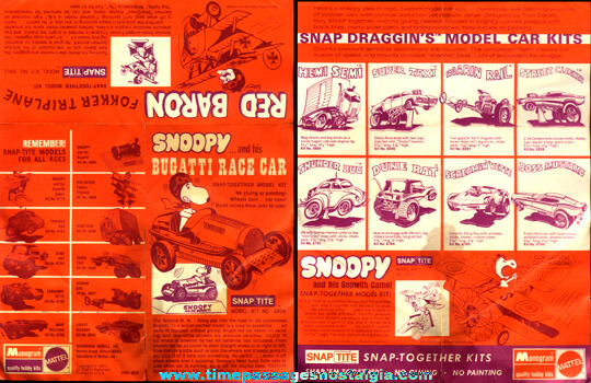 (2) ©1971 Mattel / Monogram Model Kit Paper Items