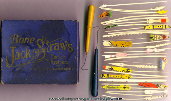 Early Boxed Parker Brothers Bone Jack Straws Game