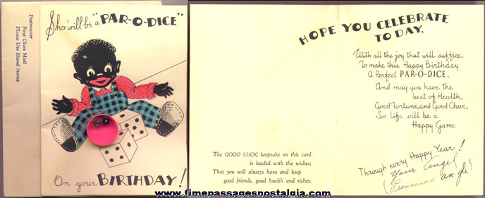 Old Politcally Incorrect Black Greeting Card With Dice