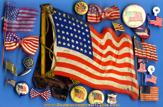(20) Different Old American Flag Patriotic Items