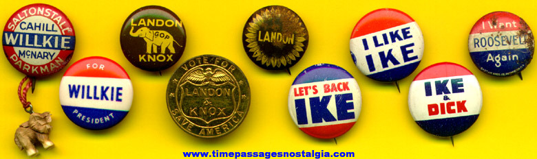 (8) Old Political Pinback Buttons & Coin