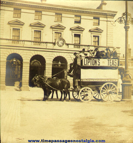Old Wagon Photograph With Lipton Tea Advertising