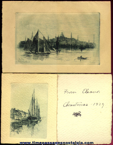 (2) Nice Small Ship Etching Greeting Card Prints