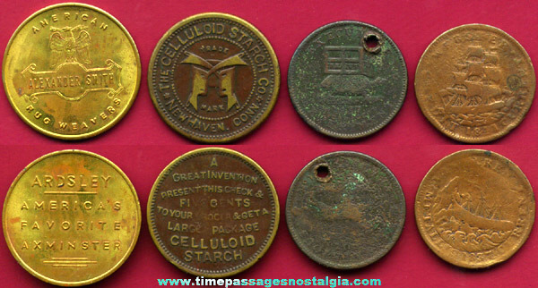 (4) Old U.S. Advertising Tokens / Coins
