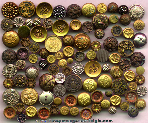 (100) Metal Antique Clothing Buttons