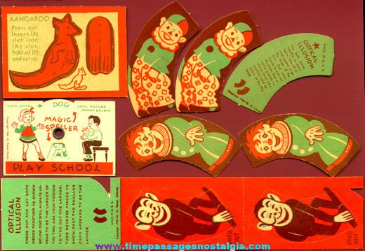 (5) 1940's Paper Cracker Jack Prizes