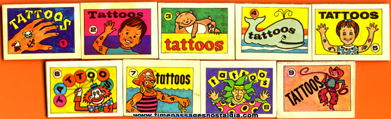 (9) Series Z-1366 Cracker Jack Prize Tattoo Books