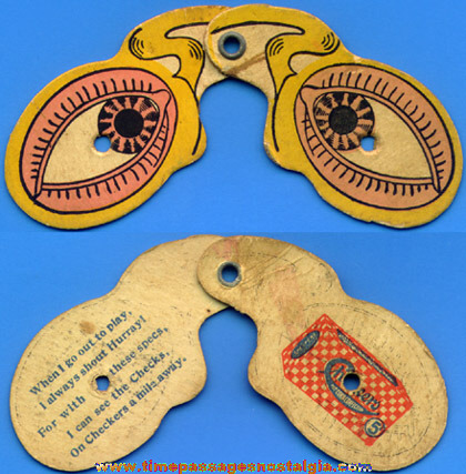 Old Pair Of Checkers Popcorn Confection Advertising Premium Spectacles