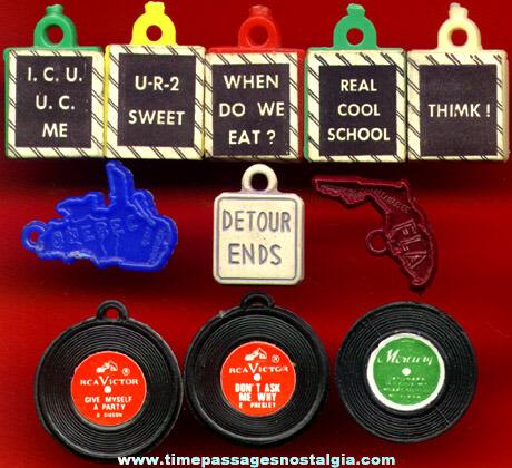 (11) 1960's Gum Ball Machine Prize Charms