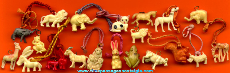 (20) Old Celluloid Animal Charms