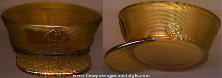 Old Amber Glass United States Army Hat