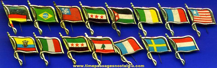 (15) Old Premium Tin Flag Pins