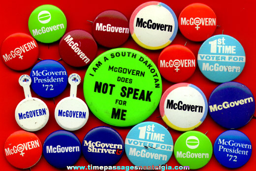 (20) Old George McGovern Political Campaign Buttons
