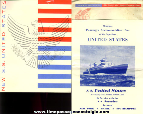 (8) 1953 S.S. UNITED STATES Paper Items