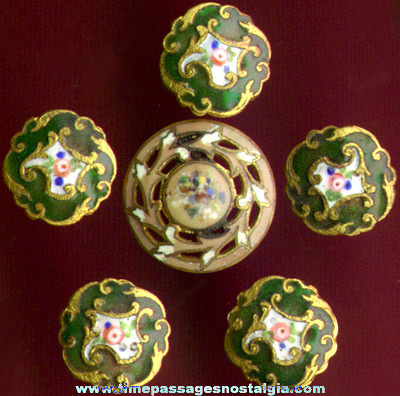 (6) Tiny Antique Enameled Brass Clothing Buttons With Flowers