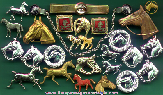 (26) Old Horse Related Jewelry Items