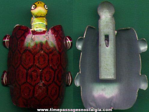 Colorful Old Cracker Jack Pop Corn Confection Lithographed Tin Nodder Turtle Toy Prize