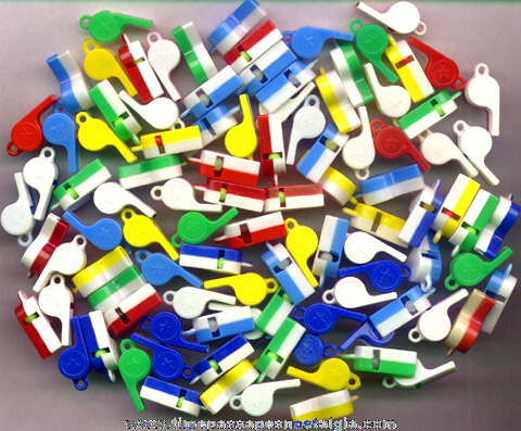 (100) Old Miniature Two Part Plastic Whistles