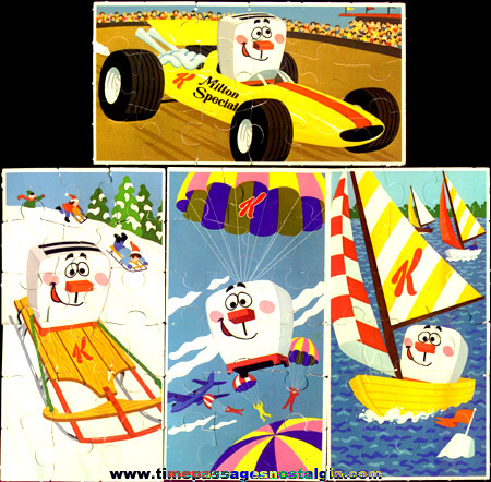 RARE Set Of 1973 Kellogg's Pop Tarts Milton The Toaster Advertising Premium Jigsaw Puzzles Plus (1) Unused
