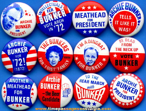 Complete Set Of (12) Archie Bunker Political Pin Back Buttons