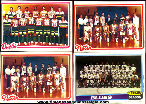 (4) �1980 Topps Chewing Gum Sports Team Pin-Up Pictures