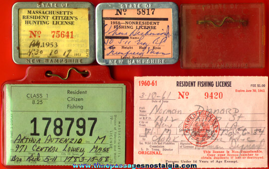 (5) Old Hunting / Fishing License Items