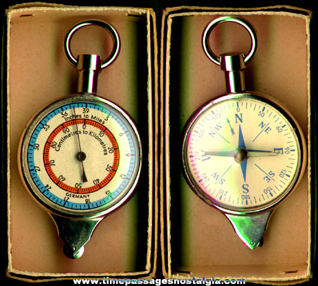 Old Boxed Map Measuring / Compass Tool