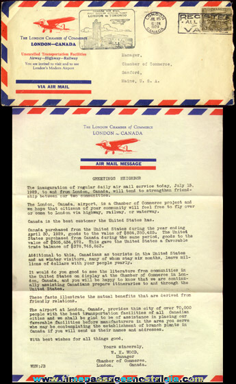 1929 London, Canada Air Mail Inauguration Letter & Envelope