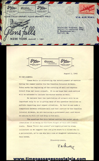 1941 Glen Falls, New York First Day Cover Envelope And Signed Letter