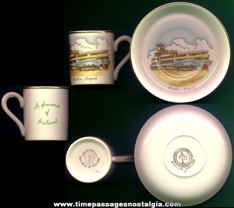 Old Dublin, Ireland Airport Advertising Souvenir Coffee Or Tea Cup With Saucer