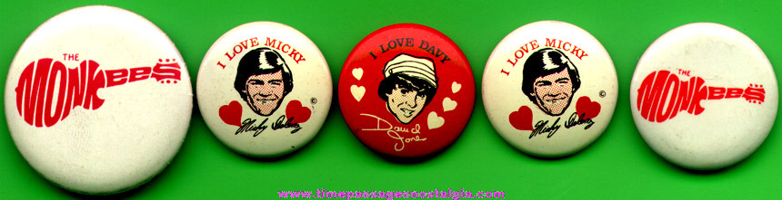 (5) Old Monkees Pin Back Buttons