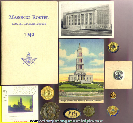 (12) Small Old Masonic Fraternal Items