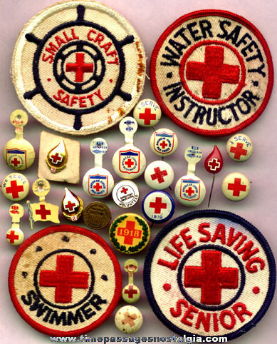 (25) Small Old Red Cross Pins, Buttons, & Patches