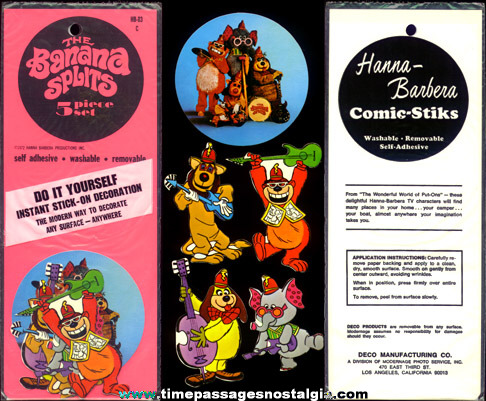 Complete RARE �1972 Banana Splits Character Decal / Sticker Set