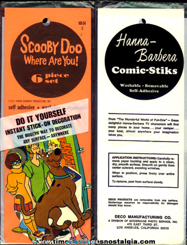 Complete RARE ©1972 Scooby Doo Character Decal / Sticker Set