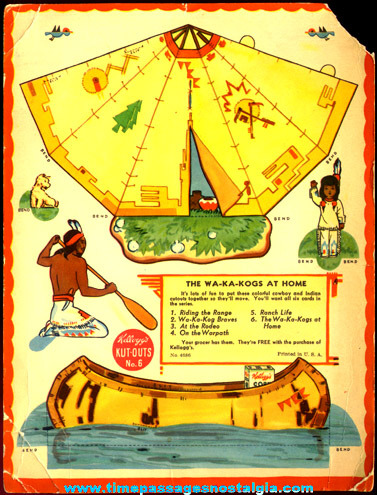 Old Native American Indian Kellogg's Cereal Box Cut Out