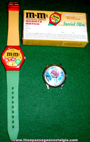 (2) M&Ms Candy Advertising Character Watches And A Watch Offer Box