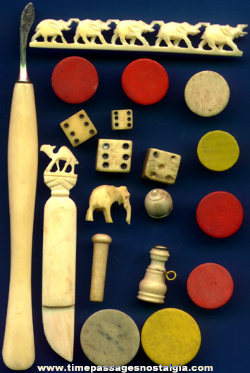 (19) Small Old Ivory Or Bone Items