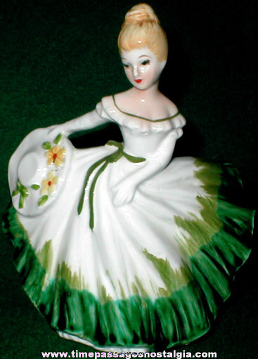 Old Lefton Porcelain Pretty Lady Figurine / Planter