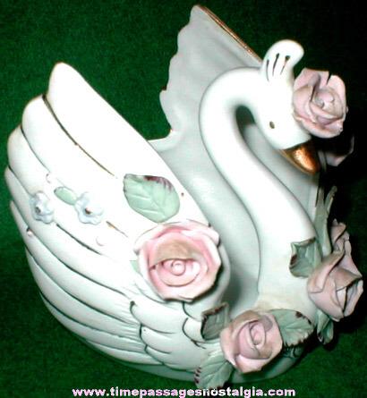 Old Lefton Porcelain Swan Figurine / Planter