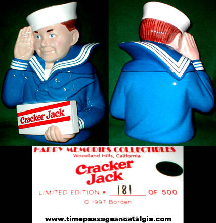 Unused Sailor Jack / Cracker Jack Ceramic Cookie Jar