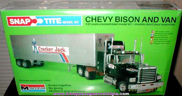 Unopened ©1980 Cracker Jack Advertising Chevy Bison Tractor & Trailer Mongram Model Kit