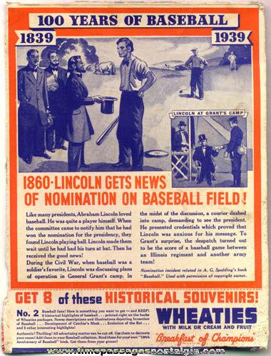 1939 Wheaties Cereal Abraham Lincoln And Baseball Box Back Panel