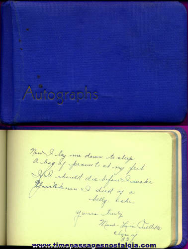 Lowell Massachusetts High School Class Of 1933 Autograph Book