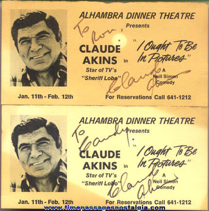 (2) Matching Claude Akins Autographed 1979 Picture cards