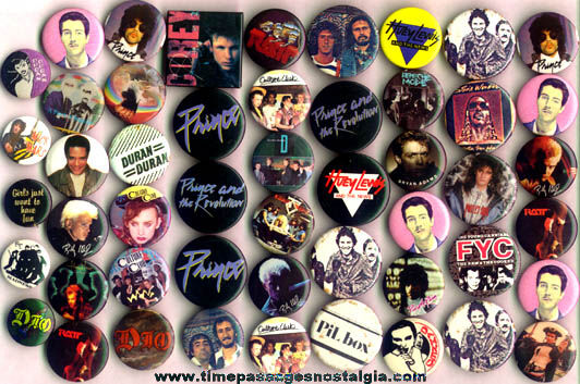 (50) Mixed 1980's Music Band Pin Back Buttons