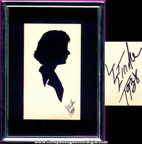 Small Signed 1938 Woman Silhouette Print