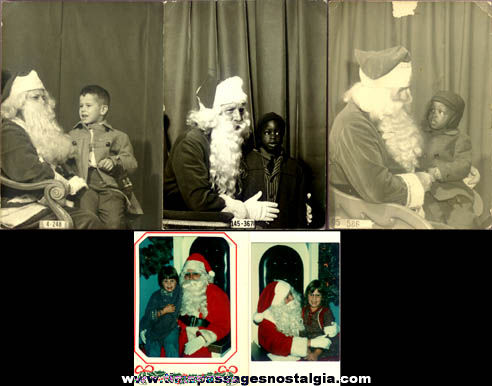 (5) Old Santa Claus With Children Photographs
